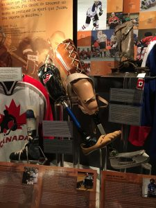Bill's prosthetic foot in the Hockey Hall of Fame
